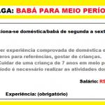 Contrato  Babá – Vaga para meio período. Salário de R$ 1.400,00.