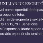 PRECISA-SE DE AUXILIAR DE ESCRITÓRIO – Ensino Médio Completo – SALÁRIO R$ 1.212,73 + BENEFÍCIOS – CONTRATAÇÃO IMEDIATO.