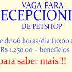 VAGA PARA RECEPCIONISTA DE PET SHOP – MEIO PERÍODO – SALÁRIO DE R$1.300,00!