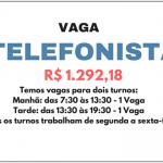 Contrata-se: PARA ATENDIMENTO DE TELEFONISTA -Não é necessário possuir experiência