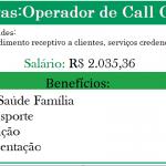 VAGAS DE EMPREGOS: OPERADOR DE CALL CENTER, DE NÍVEL MÉDIO – COM SALÁRIO ATÉ R$ 2.035,36