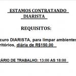 Contrata Diarista para meio período (13:00h às 18:00) pago o valor de R$150,00