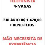 CLINICA MÉDICA SELECIONA VAGAS PARA TELEFONISTA  – Salário: R$ 1.470,00