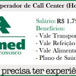 Unimed Contrata Operador de Call Center, nível médio completo. Salário: R$1.790,80