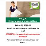 Vagas para empregada doméstica – Salário: R$ 1.500,00